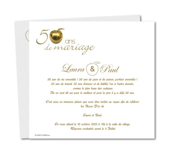 Modèle de lettre : Discours pour 50 ans de mariage