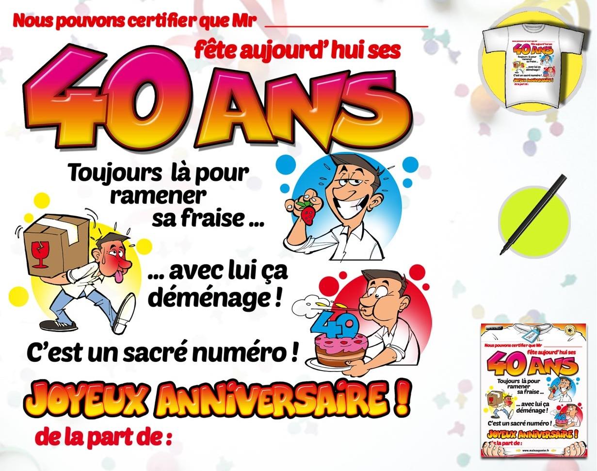 Texte Anniversaire Humoristique 40 Ans Homme Imprimer Demat