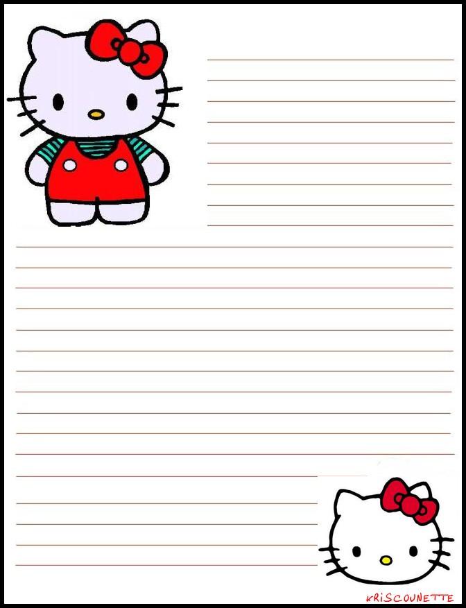 Image Papier A Lettre Hello Kitty A Imprimer Gratuitement