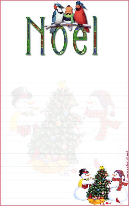 papier à lettre joyeux noel