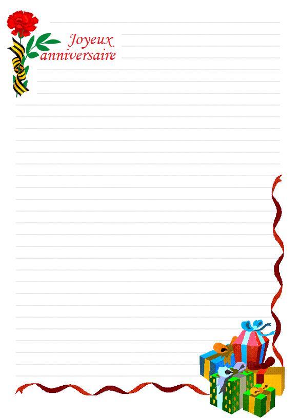 papier à lettre anniversaire